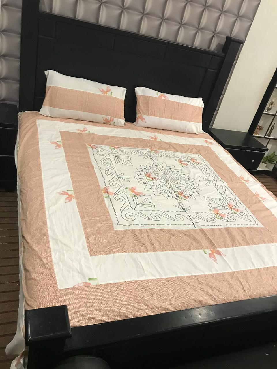 King Size Cotton Satan Embroidered Bed Sheet