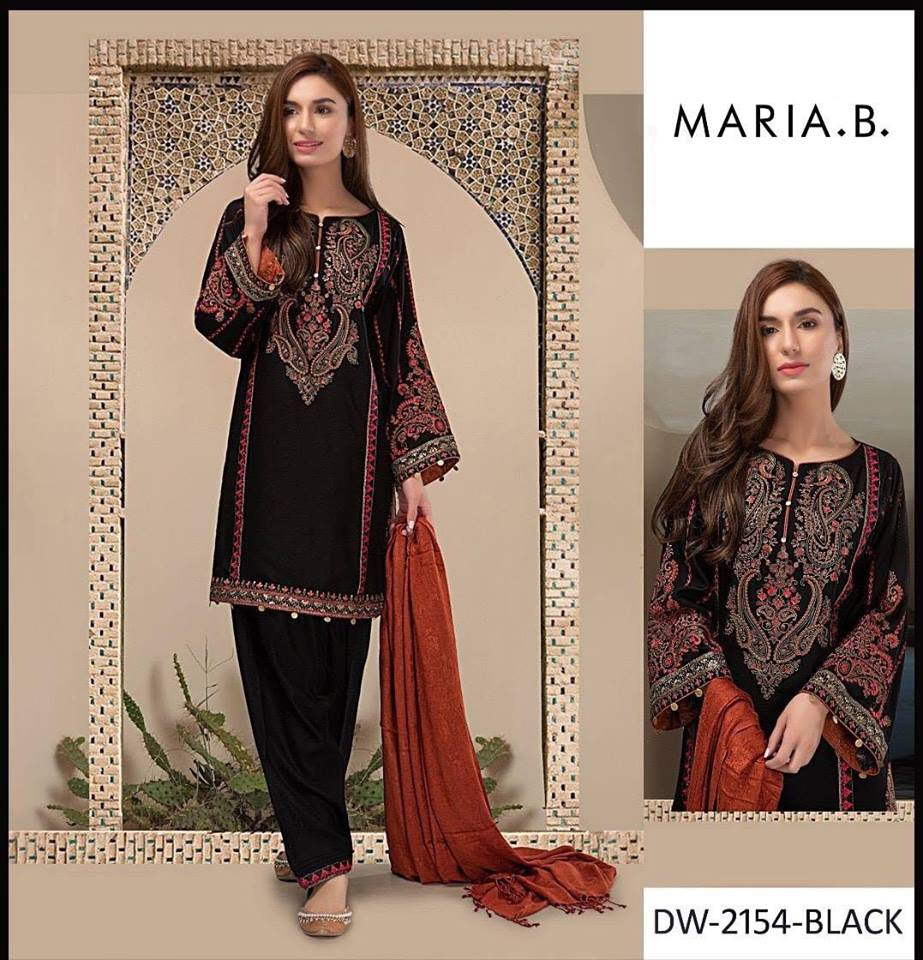 67977f8d6d211 Brand Maria B Embroidered 3PC Lawn Dress with Chiffon Dupatta ...