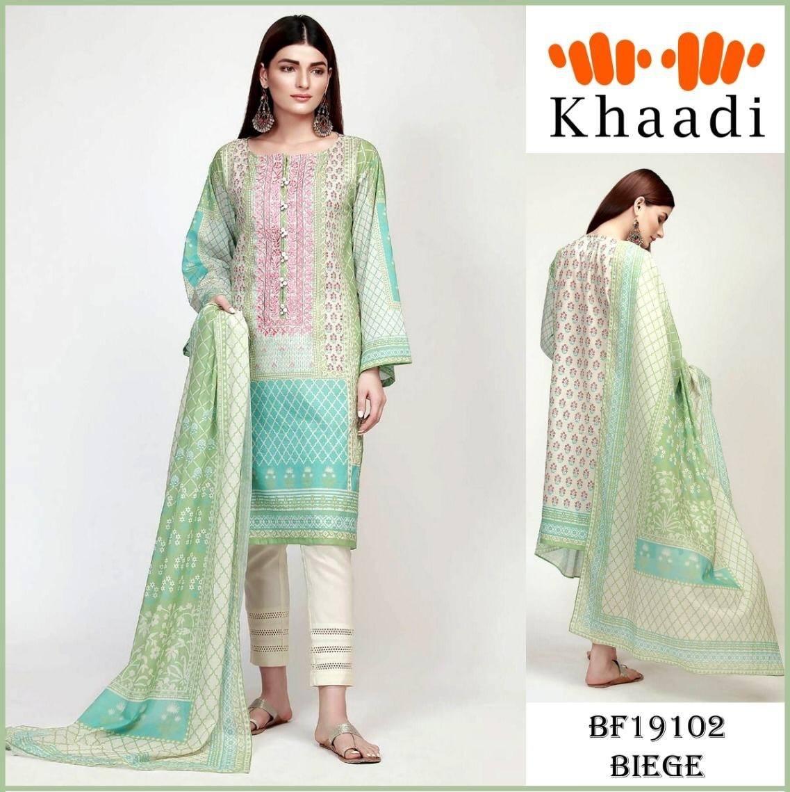 37fd5ead64 Brand Khaadi Embroidered 3PC Lawn Dress with Chiffon Dupatta - Unstitched