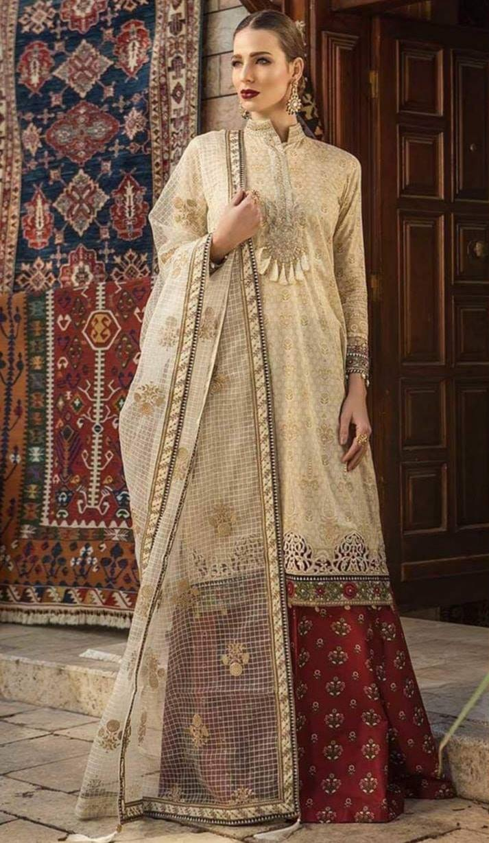 c72d8ea8c3 Brand Maria.B Embroidered 3PC Lawn Dress with Bamber Chiffon Dupatta ...