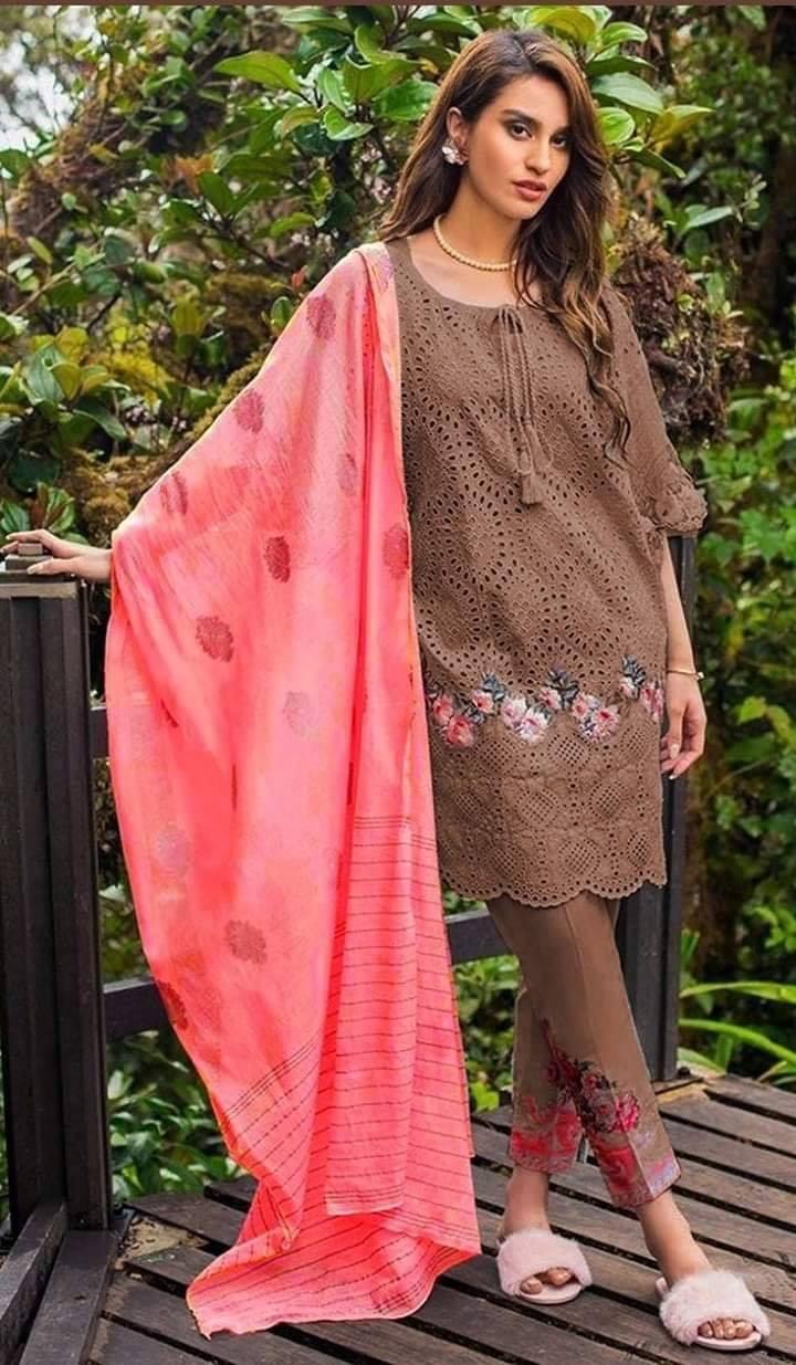 f5c17a5f6f0a6 Brand Charizma Embroidered 3PC Lawn Dress with Bamber Chiffon ...